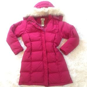 RARE M/L Pink goose down puffer coat jacket long